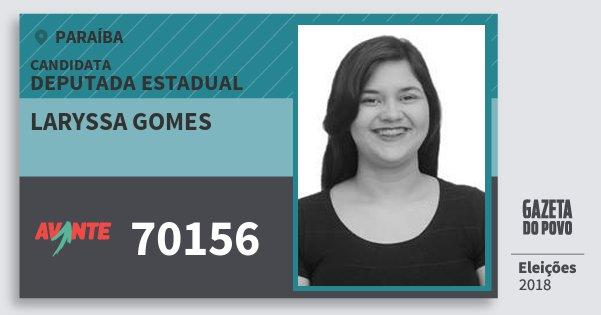 Santinho Laryssa Gomes 70156 (AVANTE) Deputada Estadual | Paraíba | Eleições 2018