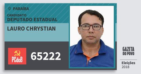 Santinho Lauro Chrystian 65222 (PC do B) Deputado Estadual | Paraíba | Eleições 2018