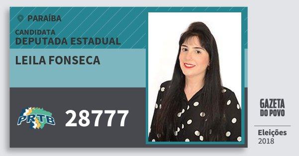 Santinho Leila Fonseca 28777 (PRTB) Deputada Estadual | Paraíba | Eleições 2018