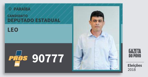 Santinho Leo 90777 (PROS) Deputado Estadual | Paraíba | Eleições 2018