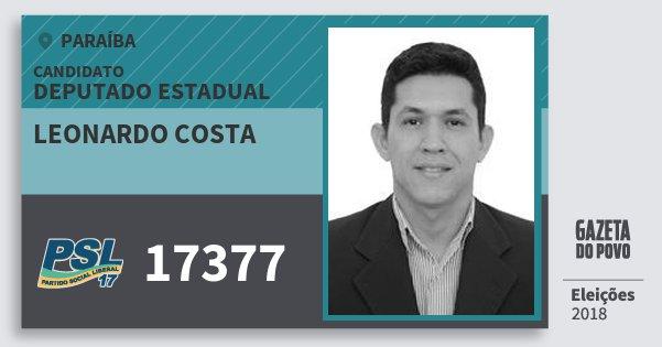 Santinho Leonardo Costa 17377 (PSL) Deputado Estadual | Paraíba | Eleições 2018