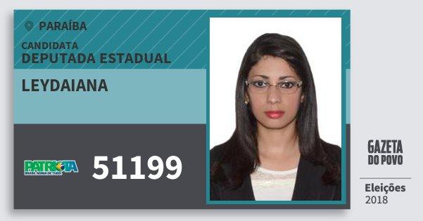 Santinho Leydaiana 51199 (PATRI) Deputada Estadual | Paraíba | Eleições 2018