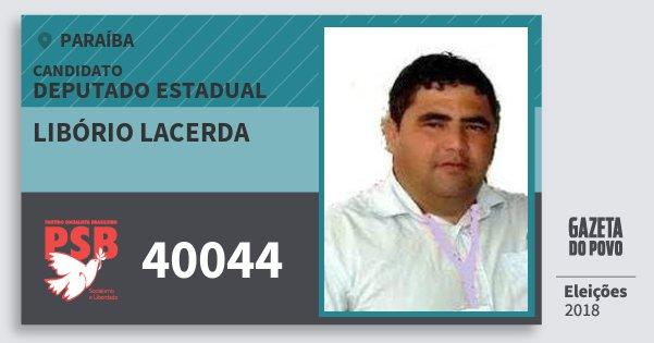 Santinho Libório Lacerda 40044 (PSB) Deputado Estadual | Paraíba | Eleições 2018