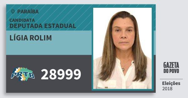 Santinho Lígia Rolim 28999 (PRTB) Deputada Estadual | Paraíba | Eleições 2018