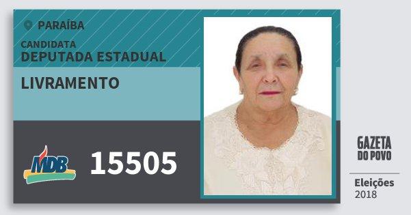Santinho Livramento 15505 (MDB) Deputada Estadual | Paraíba | Eleições 2018
