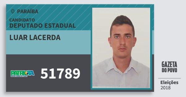 Santinho Luar Lacerda 51789 (PATRI) Deputado Estadual | Paraíba | Eleições 2018