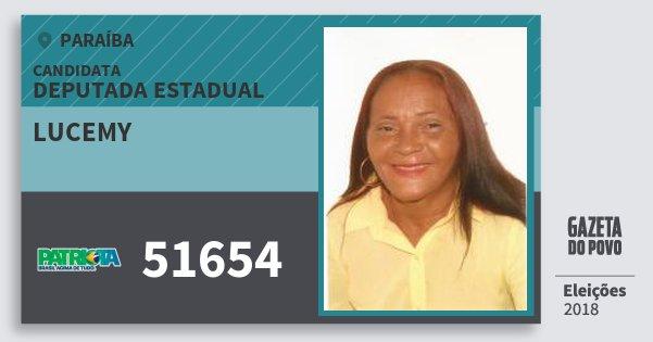 Santinho Lucemy 51654 (PATRI) Deputada Estadual | Paraíba | Eleições 2018