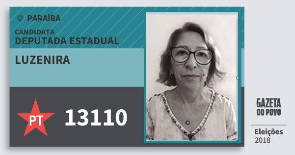 Santinho Luzenira 13110 (PT) Deputada Estadual | Paraíba | Eleições 2018