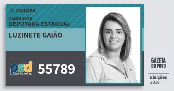 Santinho Luzinete Gaião 55789 (PSD) Deputada Estadual | Paraíba | Eleições 2018