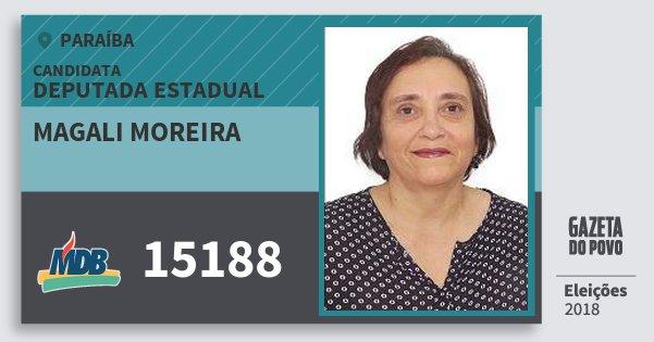 Santinho Magali Moreira 15188 (MDB) Deputada Estadual | Paraíba | Eleições 2018