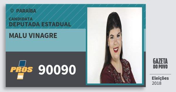 Santinho Malu Vinagre 90090 (PROS) Deputada Estadual   Paraíba   Eleições 2018