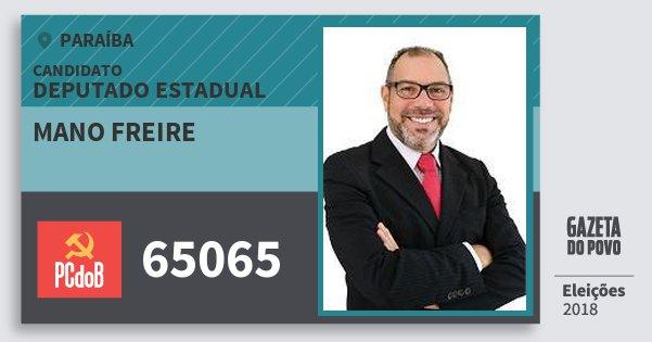 Santinho Mano Freire 65065 (PC do B) Deputado Estadual | Paraíba | Eleições 2018