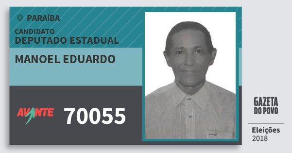 Santinho Manoel Eduardo 70055 (AVANTE) Deputado Estadual | Paraíba | Eleições 2018