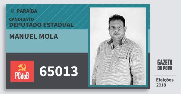 Santinho Manuel Mola 65013 (PC do B) Deputado Estadual | Paraíba | Eleições 2018