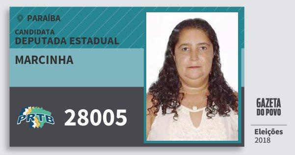 Santinho Marcinha 28005 (PRTB) Deputada Estadual | Paraíba | Eleições 2018