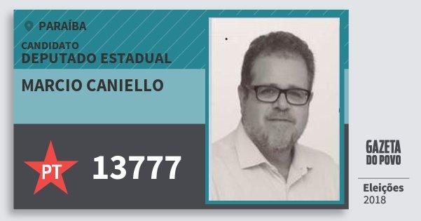 Santinho Marcio Caniello 13777 (PT) Deputado Estadual | Paraíba | Eleições 2018