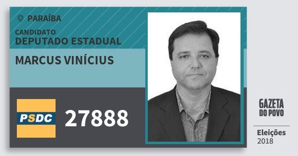 Santinho Marcus Vinícius 27888 (DC) Deputado Estadual | Paraíba | Eleições 2018