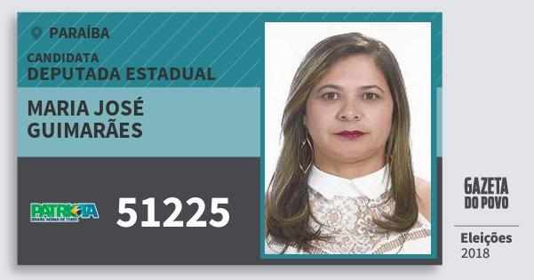 Santinho Maria José Guimarães 51225 (PATRI) Deputada Estadual | Paraíba | Eleições 2018