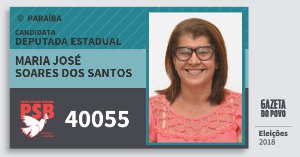 Santinho Maria José Soares dos Santos 40055 (PSB) Deputada Estadual | Paraíba | Eleições 2018