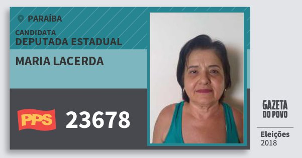 Santinho Maria Lacerda 23678 (PPS) Deputada Estadual   Paraíba   Eleições 2018