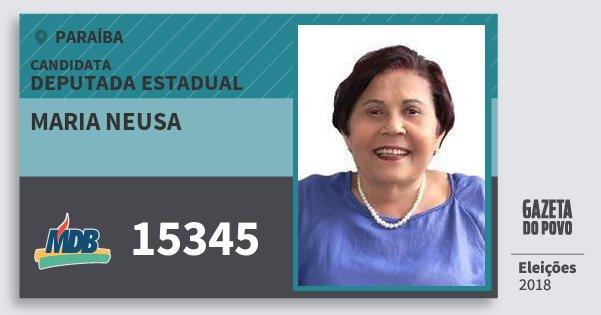 Santinho Maria Neusa 15345 (MDB) Deputada Estadual | Paraíba | Eleições 2018