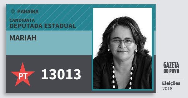 Santinho Mariah 13013 (PT) Deputada Estadual | Paraíba | Eleições 2018