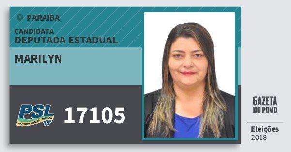 Santinho Marilyn 17105 (PSL) Deputada Estadual | Paraíba | Eleições 2018