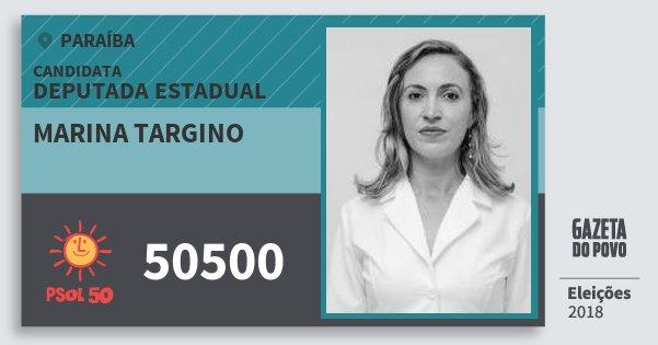 Santinho Marina Targino 50500 (PSOL) Deputada Estadual | Paraíba | Eleições 2018