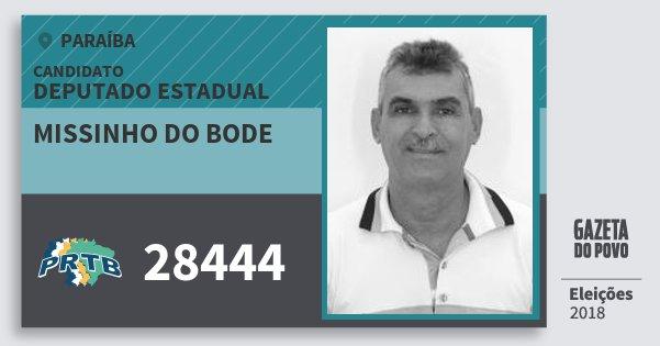 Santinho Missinho do Bode 28444 (PRTB) Deputado Estadual | Paraíba | Eleições 2018
