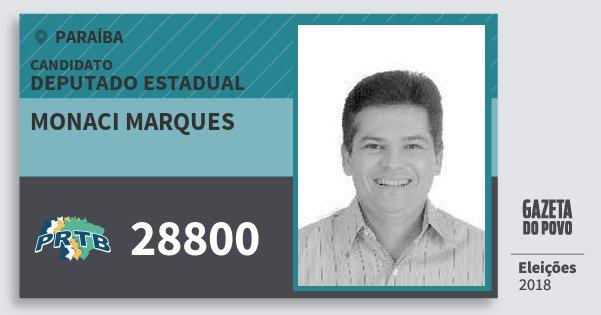 Santinho Monaci Marques 28800 (PRTB) Deputado Estadual | Paraíba | Eleições 2018