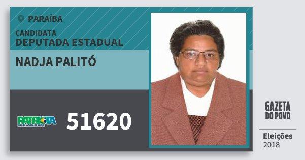 Santinho Nadja Palitó 51620 (PATRI) Deputada Estadual | Paraíba | Eleições 2018