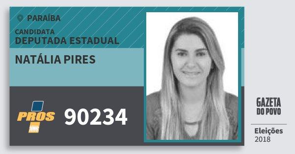 Santinho Natália Pires 90234 (PROS) Deputada Estadual | Paraíba | Eleições 2018