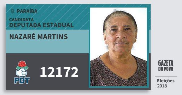 Santinho Nazaré Martins 12172 (PDT) Deputada Estadual | Paraíba | Eleições 2018