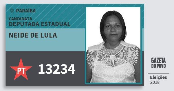 Santinho Neide de Lula 13234 (PT) Deputada Estadual | Paraíba | Eleições 2018