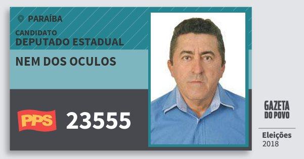 Santinho Nem dos Oculos 23555 (PPS) Deputado Estadual | Paraíba | Eleições 2018