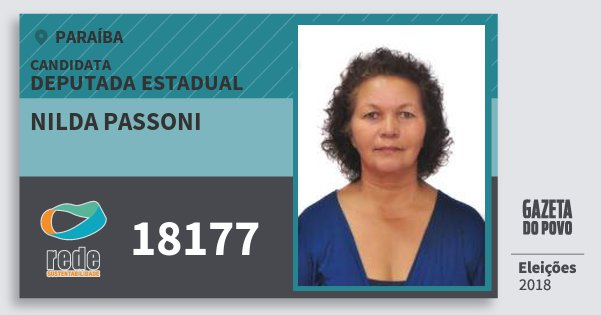 Santinho Nilda Passoni 18177 (REDE) Deputada Estadual | Paraíba | Eleições 2018