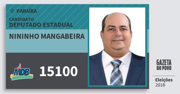 Santinho Nininho Mangabeira 15100 (MDB) Deputado Estadual | Paraíba | Eleições 2018