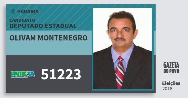 Santinho Olivam Montenegro 51223 (PATRI) Deputado Estadual | Paraíba | Eleições 2018