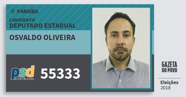 Santinho Osvaldo Oliveira 55333 (PSD) Deputado Estadual | Paraíba | Eleições 2018