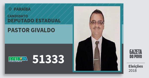 Santinho Pastor Givaldo 51333 (PATRI) Deputado Estadual | Paraíba | Eleições 2018