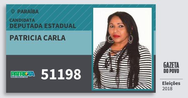 Santinho Patricia Carla 51198 (PATRI) Deputada Estadual | Paraíba | Eleições 2018
