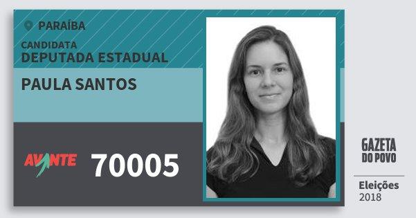 Santinho Paula Santos 70005 (AVANTE) Deputada Estadual | Paraíba | Eleições 2018