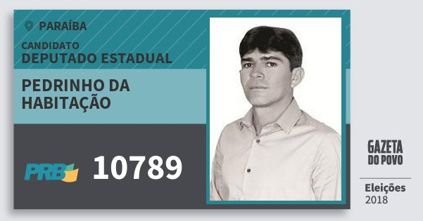 Santinho Pedrinho da Habitação 10789 (PRB) Deputado Estadual | Paraíba | Eleições 2018