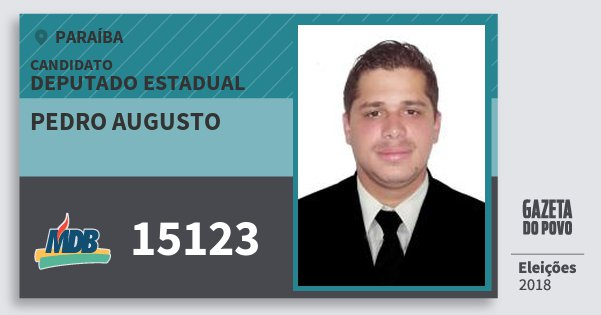 Santinho Pedro Augusto 15123 (MDB) Deputado Estadual | Paraíba | Eleições 2018
