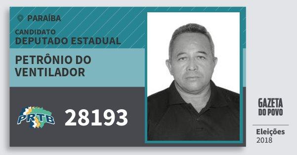 Santinho Petrônio do Ventilador 28193 (PRTB) Deputado Estadual | Paraíba | Eleições 2018