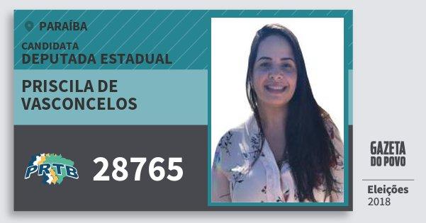 Santinho Priscila de Vasconcelos 28765 (PRTB) Deputada Estadual | Paraíba | Eleições 2018