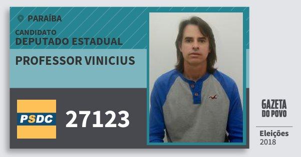 Santinho Professor Vinicius 27123 (DC) Deputado Estadual | Paraíba | Eleições 2018