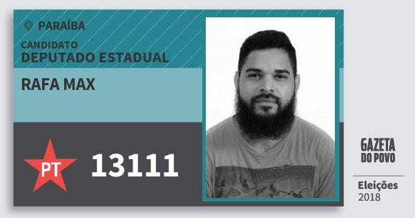 Santinho Rafa Max 13111 (PT) Deputado Estadual | Paraíba | Eleições 2018