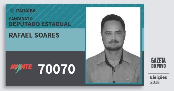 Santinho Rafael Soares 70070 (AVANTE) Deputado Estadual | Paraíba | Eleições 2018