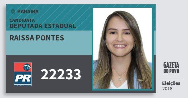 Santinho Raissa Pontes 22233 (PR) Deputada Estadual | Paraíba | Eleições 2018